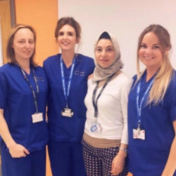 Maryanne Bray (left), Kate Siddall (centre) and Vikki Keeping (right), alongside our Lead Research and Development Obstetric Consultant Summia Zaher.